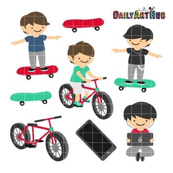 Boys Having Fun Clip Art - Great for Art Class Projects!