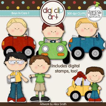 Boys In Cars 1-  Digi Clip Art/Digital Stamps - CU Clip Art