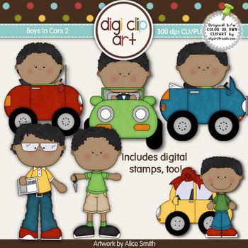 Boys In Cars 2-  Digi Clip Art/Digital Stamps - CU Clip Art