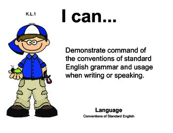 Boys Kindergarten English Common core standards posters