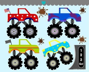 Boys Monster Trucks Clip Art