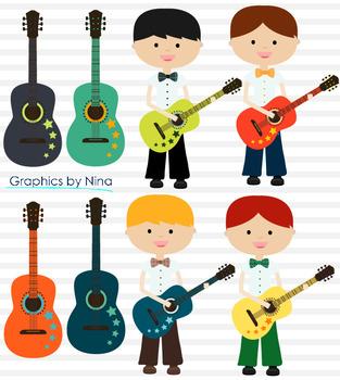 Boys Playing Guitars Clipart
