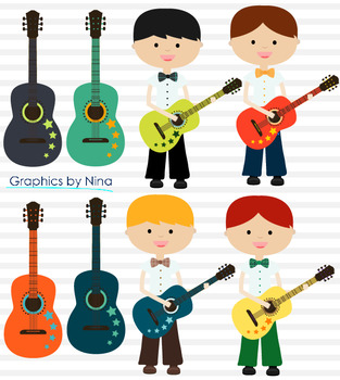 Boys Playing Guitars Clipart