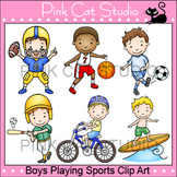 Boys Playing Summer Sports Clip Art – Personal or Commercial Use