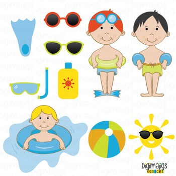 Boys Pool Party, Cute Boys Swimming, Inner Tube Graphics, Sunglasses Clipart