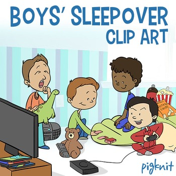 Boys Sleepover Clipart | Slumber Party Clip Art | DVDs, Games, Sleeping Bag