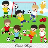 Boys Soccer Clipart, Boy Soccer Digital Clip Art, Sport Clipart, 0256