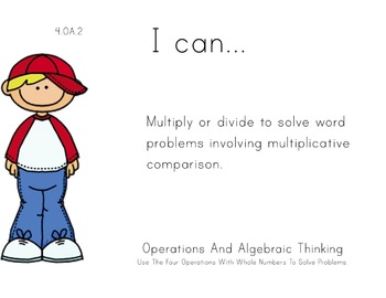 Boys Theme 4th grade math Common Core Posters fourth Grade Standards