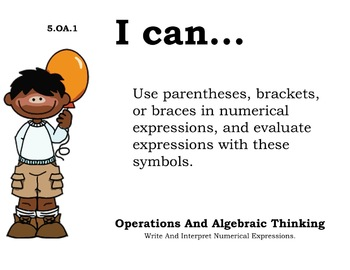 Boys Theme 5th grade math Common Core Posters Fifth Grade Standards