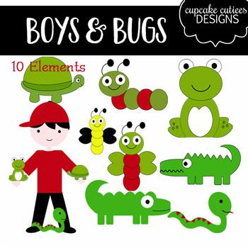 Boys and Bugs Digital Clip Art Elements