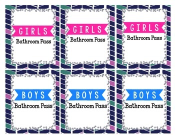 Boys and Girls Bathroom Pass for Hand Sanitizer