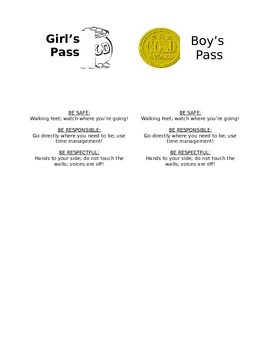 Boys and Girls Bathroom Passes
