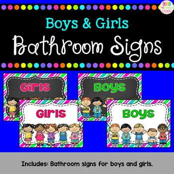 Boys and Girls Bathroom Signs - Spanish versions too! {freebie}
