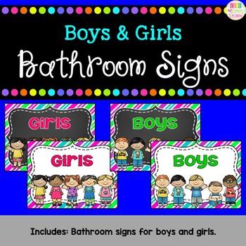 Boys and Girls Bathroom Signs - Spanish versions too! {freebie}