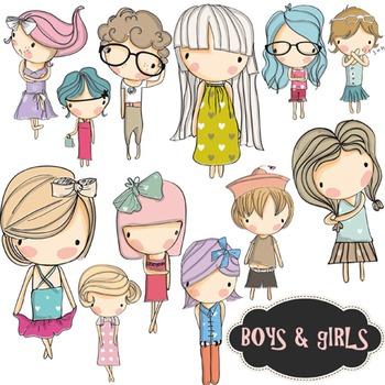 Boys and Girls Clip Art Kids Children Clipart Set - Colore