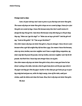 Boys are better than girls opinion writing full lesson