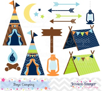 Boys camping clipart, for camping party, commercial use, p
