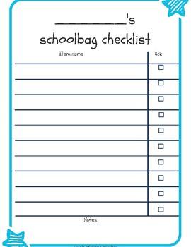 Boys & girls school bag checklist