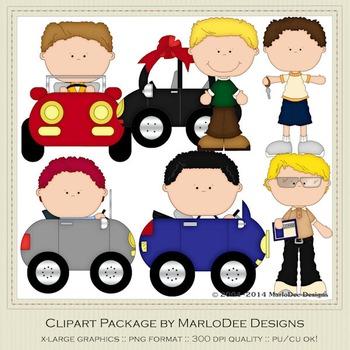Boys n Cars Clip Art Graphics Set 1 by MarloDee Designs