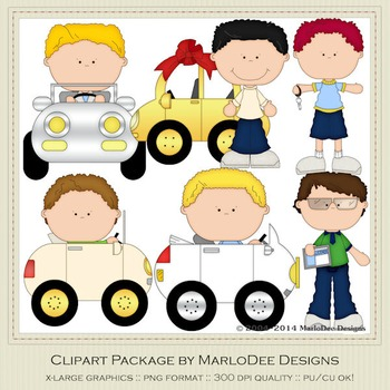 Boys n Cars Clip Art Graphics Set 3 by MarloDee Designs