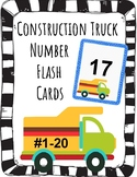 VROOM!! Boy Number Flash Cards #1-20. Fun Construction Trucks.