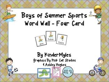 Boys of Summer Sports Word Wall 4 Card