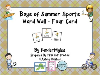 Boys of Summer Sports Word Wall 4 Card
