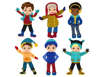 Boys winter clothing clipart set