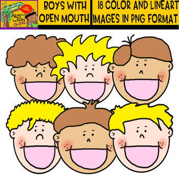 Boys with Open Mouth - Clipart set - blond and dark kids - 18 Items