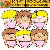 Boys with Open Mouth - Clipart set - blond and dark kids -