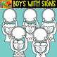 Boys with Signs - cliparts Set - #15 Items