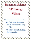 Bozeman Science AP Biology Enzymes Video Quiz or Worksheet
