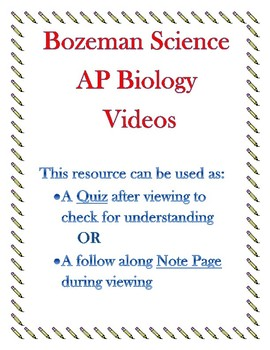 Bozeman Science AP Biology Lab 1 Osmosis Video Quiz or Worksheet with KEY