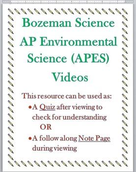 Bozeman Science AP Environmental APES Video 005 Water Resources Quiz w/ KEY