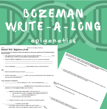 Bozeman WAL (write-a-long): Epigenetics