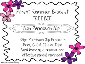 Bracelet Parent Reminders FREEBIE