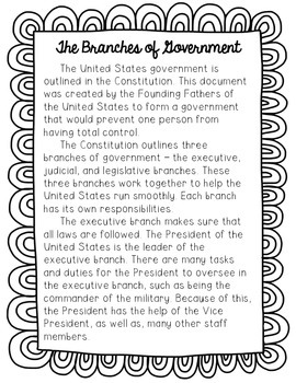 Branches of Government Reading Passage and Comprehension Questions
