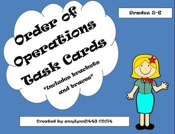 Brackets Braces Parentheses Exponents 24 Task Cards 5.OA.A