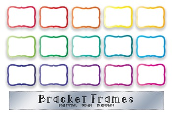 Bracket Frame Clip Art - Bright Rainbow Color Borders - 16 graphics