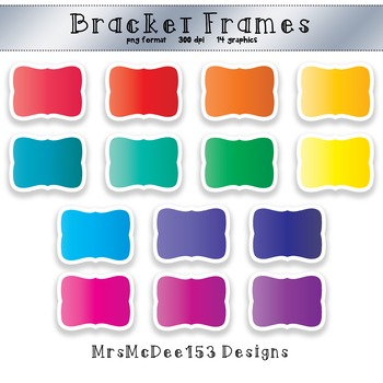 Bracket Frame Clip Art - Bright Rainbow Colors - 14 graphics