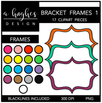 Bracket Frames Clipart Set: 1 Solids {A Hughes Design}