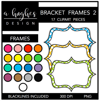 Bracket Frames Clipart Set: 2 Polka Dots {A Hughes Design}