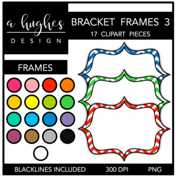 Bracket Frames Clipart Set: 3 Chevron {A Hughes Design}