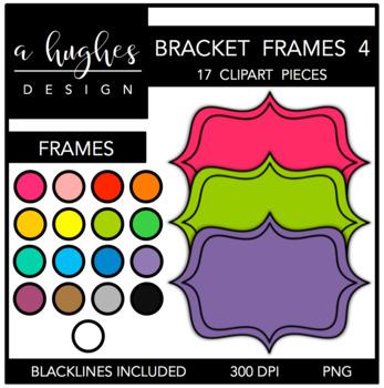 Bracket Frames Clipart Set: 4 Filled {A Hughes Design}