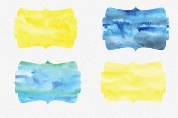 Bracket Watercolor Frames Clip, Watercolor Texture Labels Cliparts