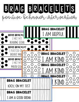Brag Bracelets Editable *Print on Colored Paper to Save Ink*