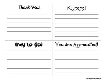 Brag Notes for Teachers
