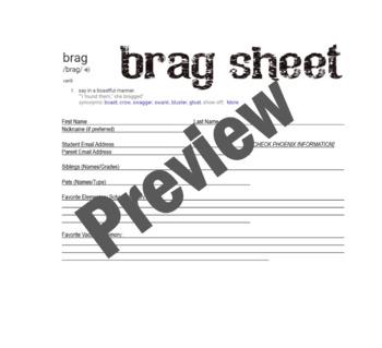 Brag Sheet