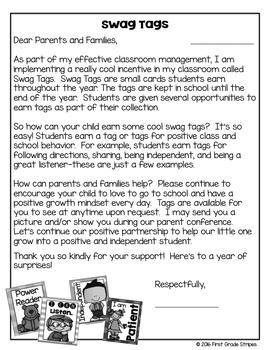Brag/Swag Tag Parent Letter-FREEBIE