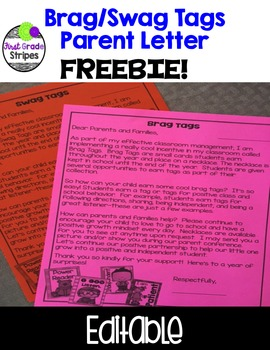 Brag/Swag Tag Parent Letter-FREEBIE